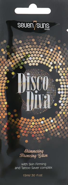 Бронзант для солярия с золотистым шиммером, подтягивающим эффектом и защитой тату - 7Suns Disco Diva Shimmering Bronzing Lotion