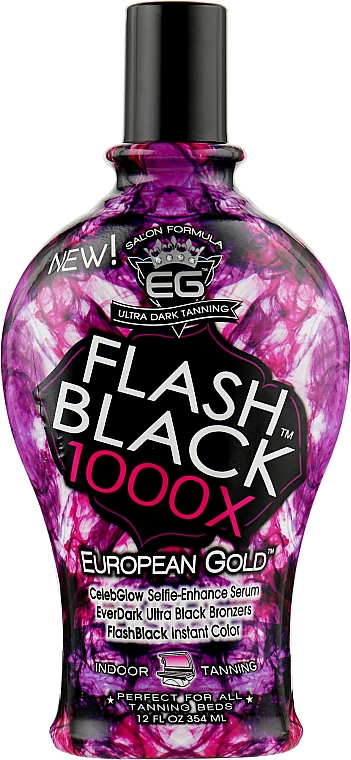 Крем с ультра-темными бронзантами для гламурного шоколадного оттенка, селфи-формула - European Gold Flash Black 1000X