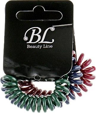 Набор резинок для волос, 405004, бордовая+зеленая+темно-синяя - Beauty Line