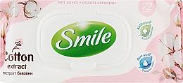 Духи, Парфюмерия, косметика Освежающие влажные салфетки с пластиковым клапаном, 72шт., с экстрактом хлопка - Smile Ukraine