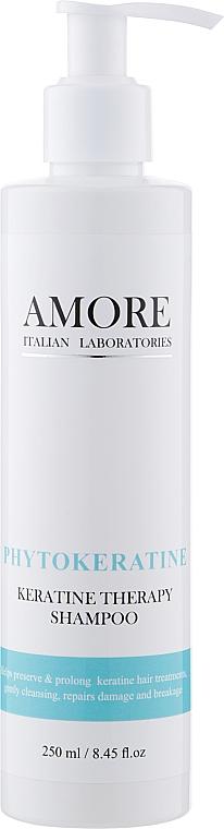 Бессульфатный концентрированный шампунь с фитокератином для восстановления поврежденных волос - Amore Phytokeratine Keratine Therapy Shampoo