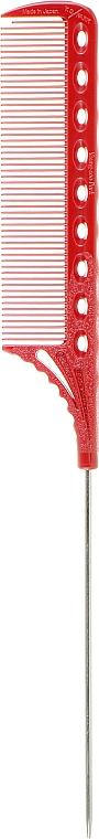 Расческа с металлическим хвостиком, 223мм, красная - Y.S.Park Professional Tail Combs 108