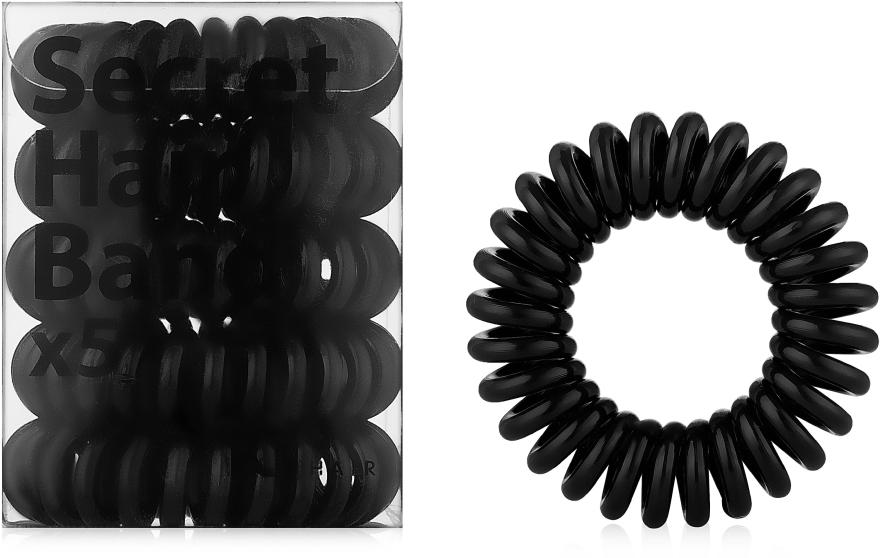 Силиконовые резинки для волос, черные - idHair Secret Hair Band Black