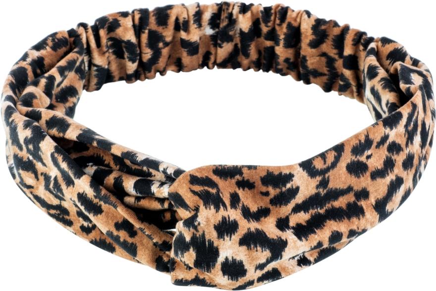 "Повязка на голову, трикотаж переплет, леопард рыжий ""Knit Fashion Twist"" - Makeup Hair Accessories"