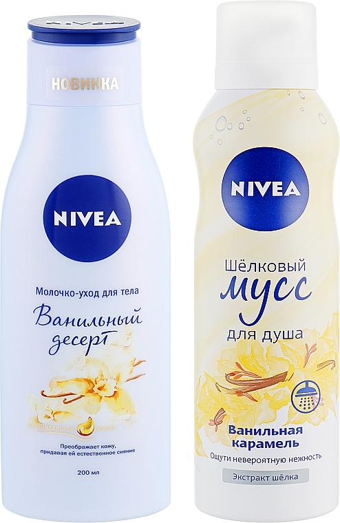 "Набор ""Ванильный десерт"" 2018 - Nivea (b/milk/200ml + sh/mousse/200ml) — фото N2"