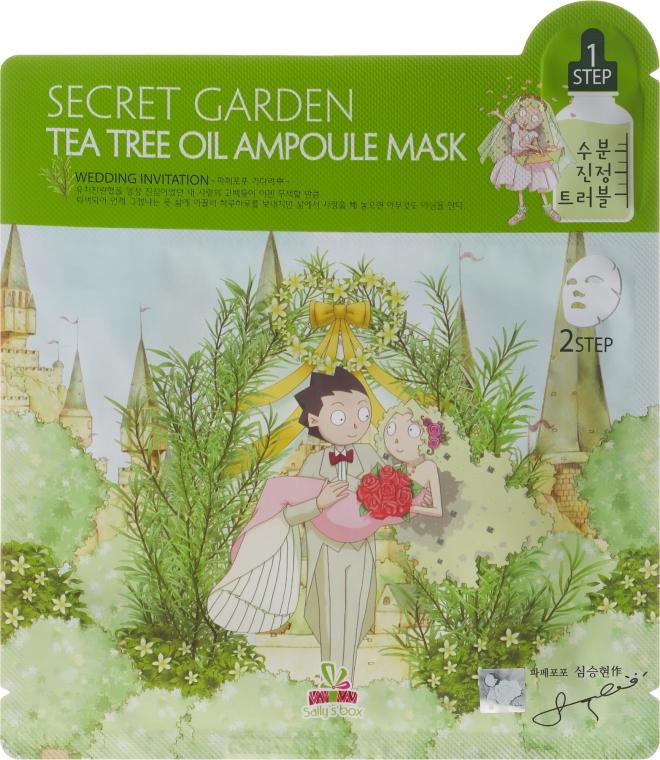 Двухфазная тканевая маска для лица - Sally's Box Secret Garden Tea Tree Oil Ampoule Mask — фото N1
