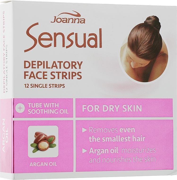 Пластырь с воском для депиляции лица c аргановым маслом - Joanna Sensual Depilatory Face Strips