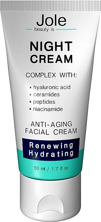 Восстанавливающий ночной крем с гиалуроновой кислотой, комплексом пептидов и керамидов - Jole Night Cream Anti-Aging Facial Cream