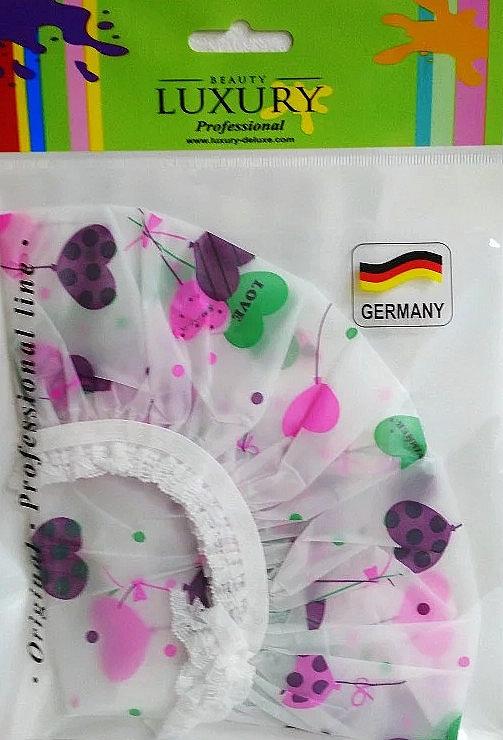 Шапочка для душа полиэтиленовая CS-05, сердечки - Beauty LUXURY